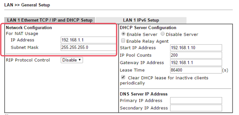 2 LAN IP Settings Draytek