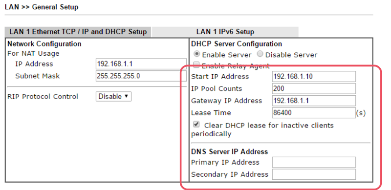 4 DCHP Configuration draytek