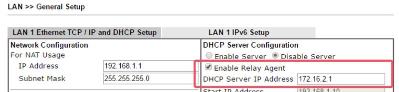 6 DHCP Relay draytek