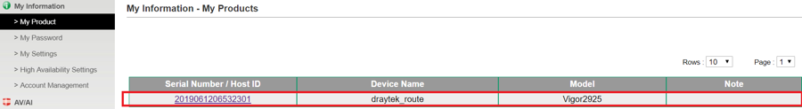 Draytek product registration list 4