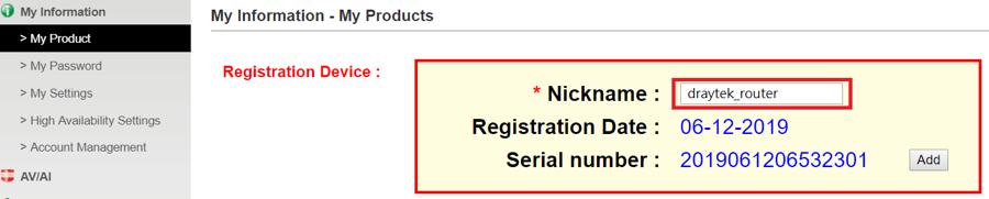 Draytek product registration nickname 3