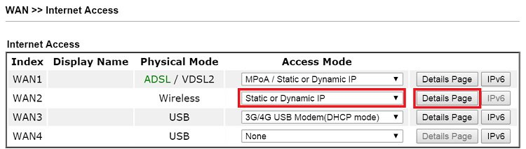 4 WAN2 Internet Access Access Mode Static or Dynamic IP