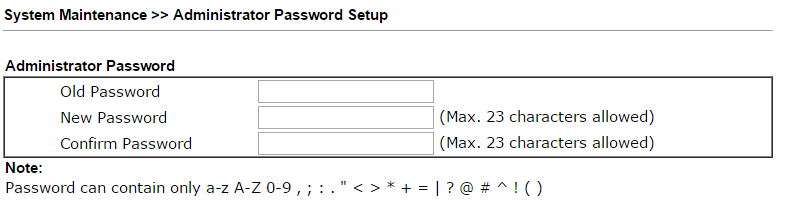 Draytek 2 change password