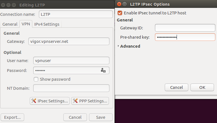 10 5 Settings and enter Pre shared key for IPsec