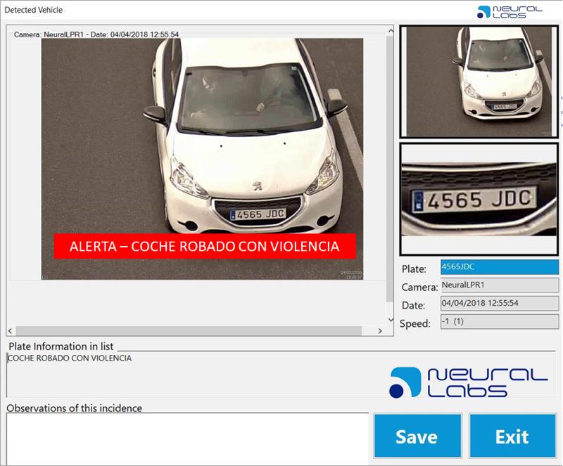 Neural 3 Alerta coche robado